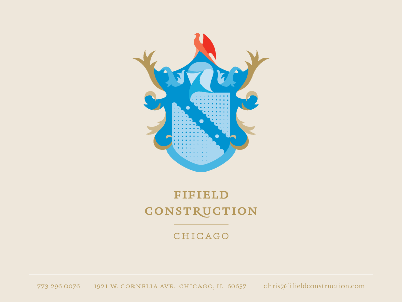 Fifield Construction Logo & Contact Information | 1921 w. cornelia ave.   chicago, il  60657